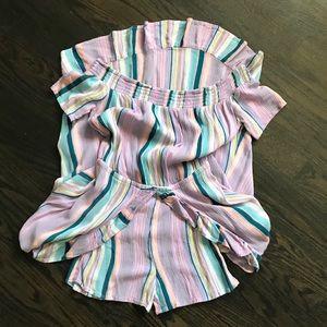 Art Class Striped Romper with Full Skirt